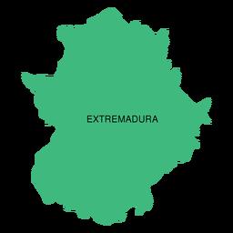 Mapa de la comunidad autónoma de Extremadura.