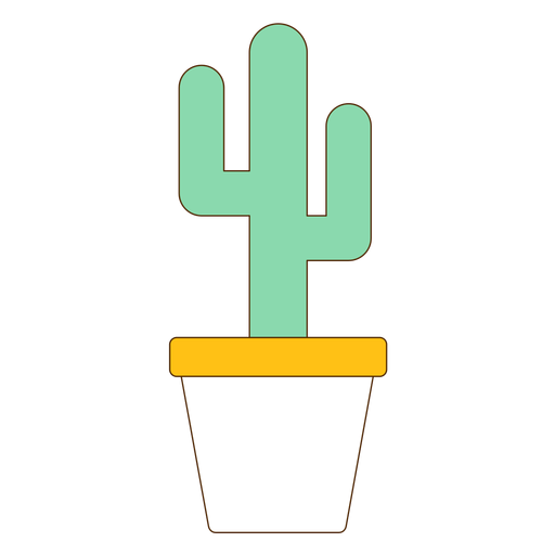 Flowerpot with cactus icon Transparent PNG