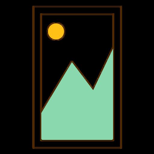 Icono de imagen de la montaña enmarcada Transparent PNG