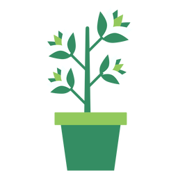 Green flowerpot with plant clipart