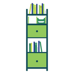 Green office bookshelf clipart