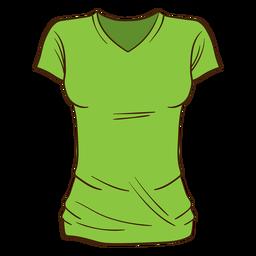 Dibujos animados de camiseta de mujer verde