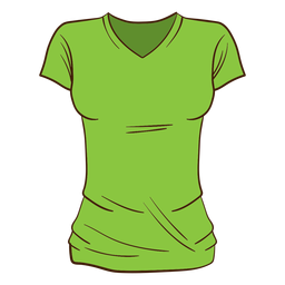 Green women t shirt cartoon