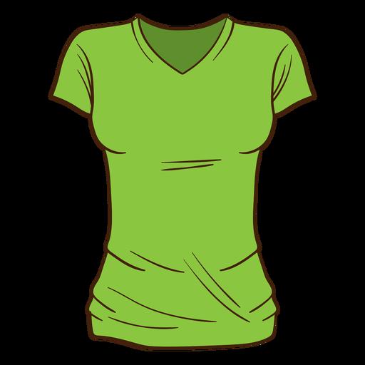 Green women t shirt cartoon Transparent PNG
