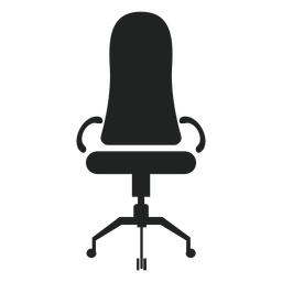 Icono de silla de oficina de respaldo estrecho
