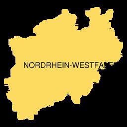 Mapa do estado de westphalia do reno norte