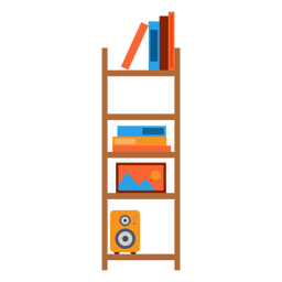 Office bookshelf illustration