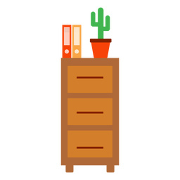 Office cabinet with cactus clipart
