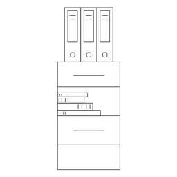 Ícone do curso da gaveta do escritório