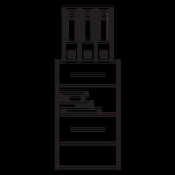 Ícone de traço de gaveta de escritório
