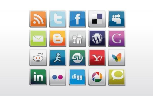 Pack de iconos sociales brillantes