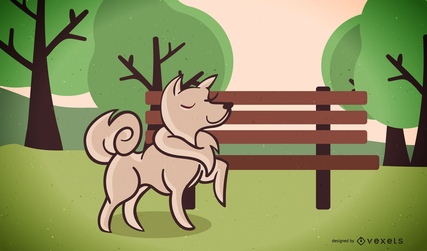 Dog Walking In Park Vector Illustration