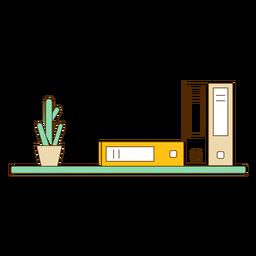 Bücherregal mit Kaktus-Symbol