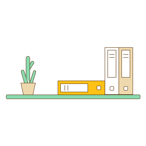Wall bookshelf with cactus icon Transparent PNG