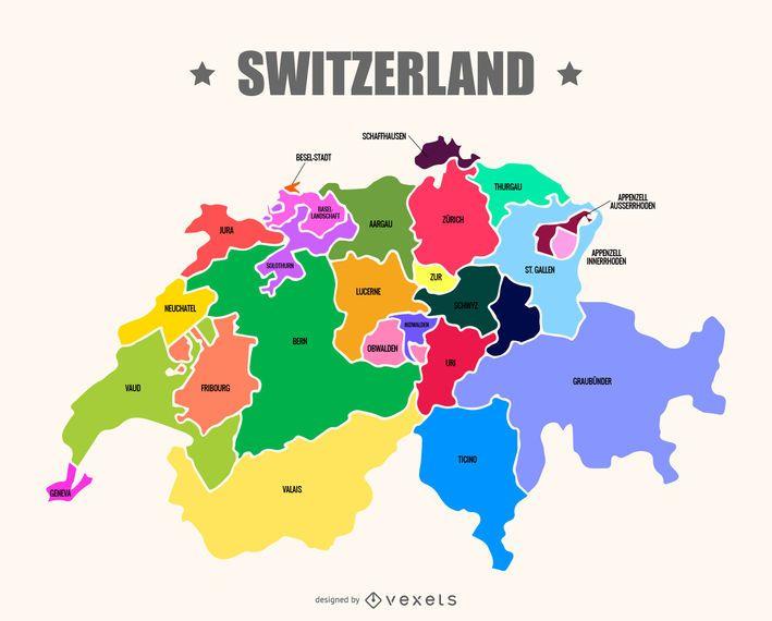 Vetor de mapa da Suíça