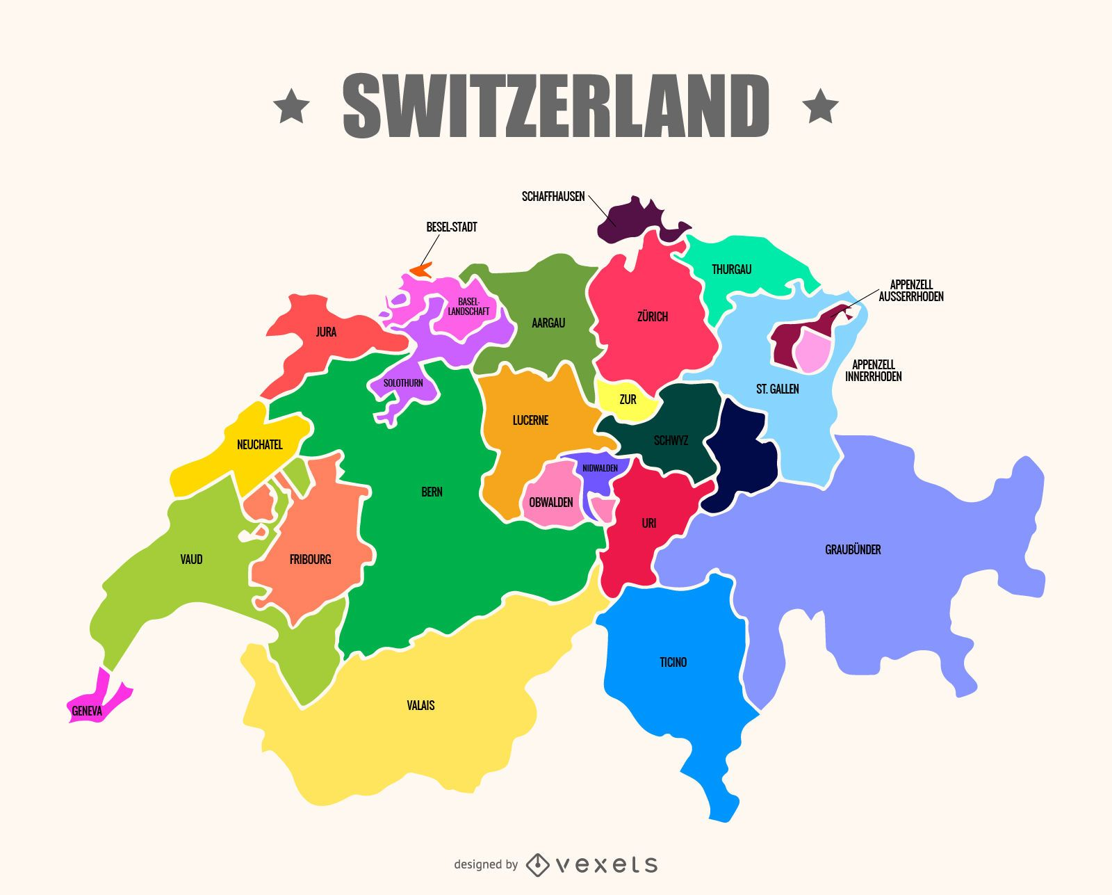 Switzerland map vector - Vector download