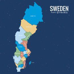 Mapa do condado da Suécia