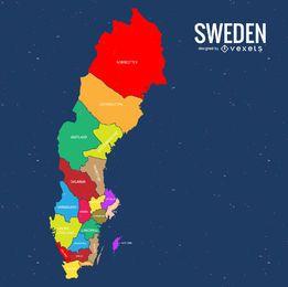 Suécia mapa do condado colorido
