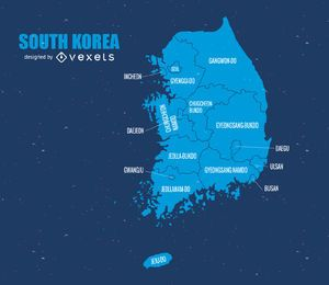 Vetor de mapa da Coreia do Sul