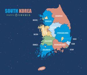 Mapa administrativo colorido da Coréia do Sul
