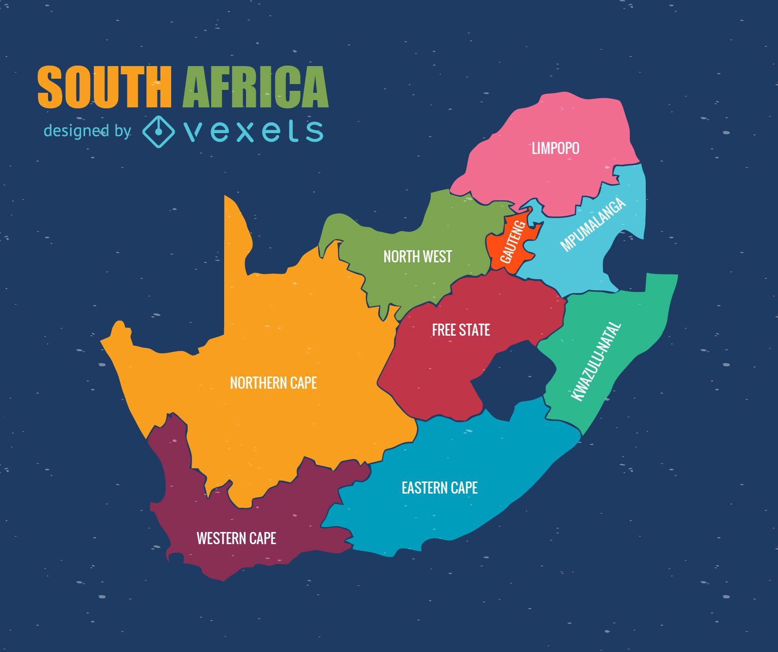 Vector de mapa administrativo de Sudáfrica