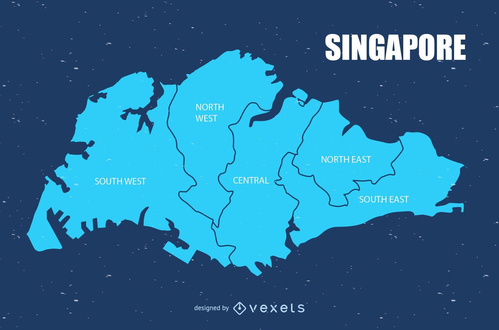 Singapore urban map vector - Vector download