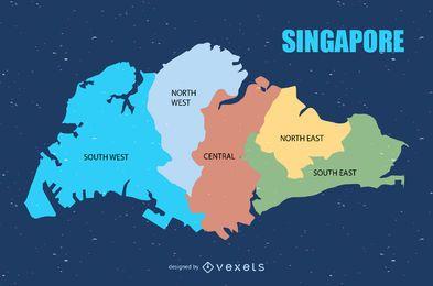 Mapa urbano colorido de Singapura