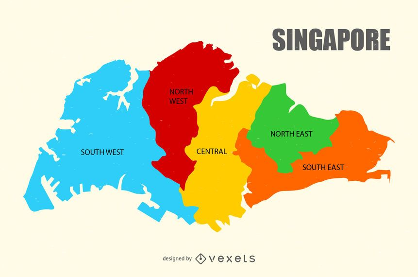Singapore region map Vector download