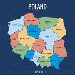 Mapa da divisão administrativa de Polônia