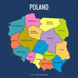 Mapa administrativo da Polônia colorida