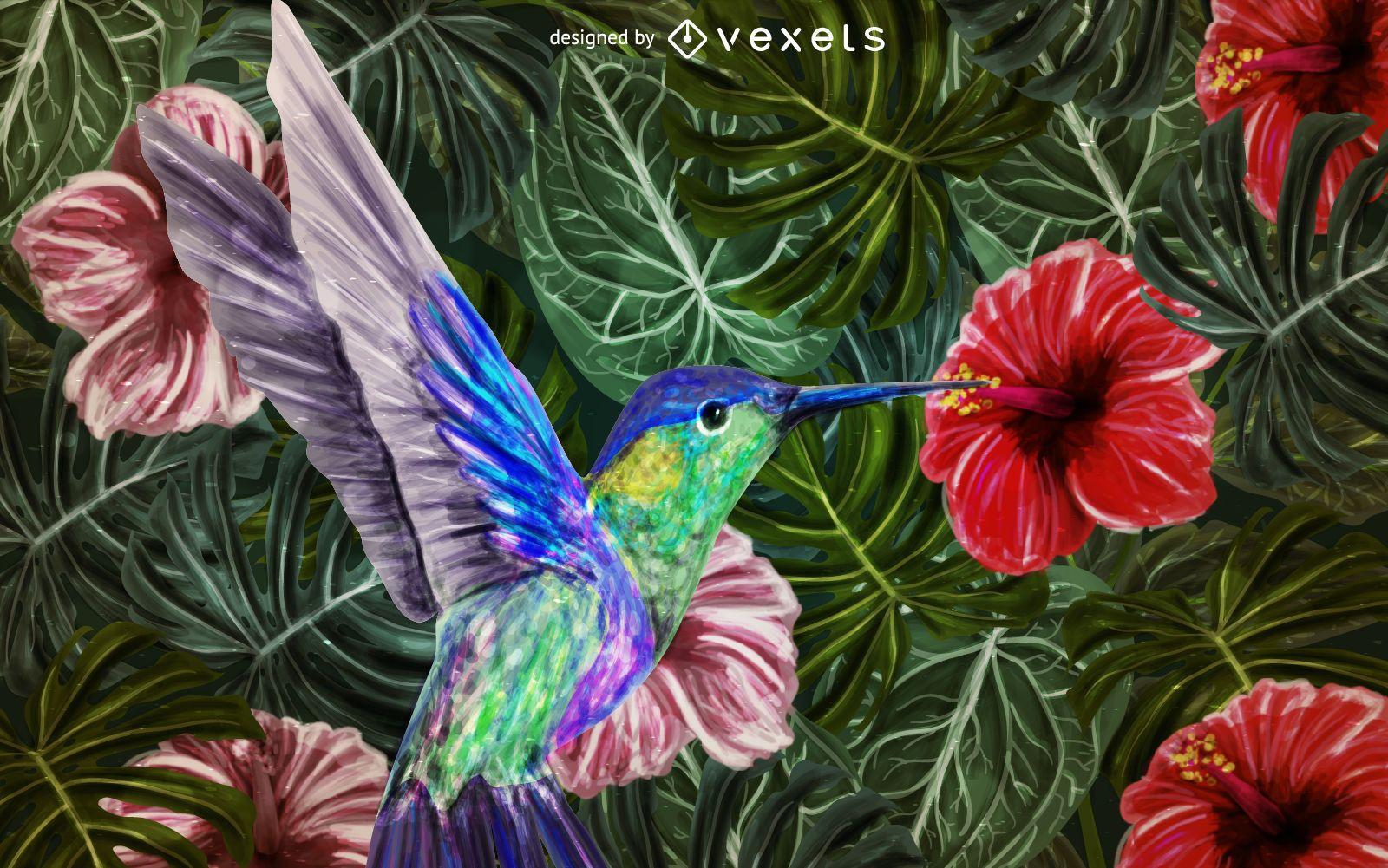 Hummingbird background painting