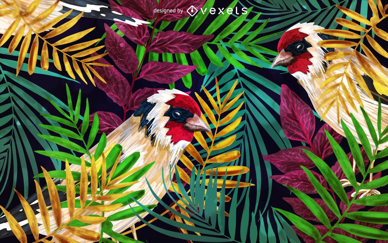 Goldfinch bird background illustration