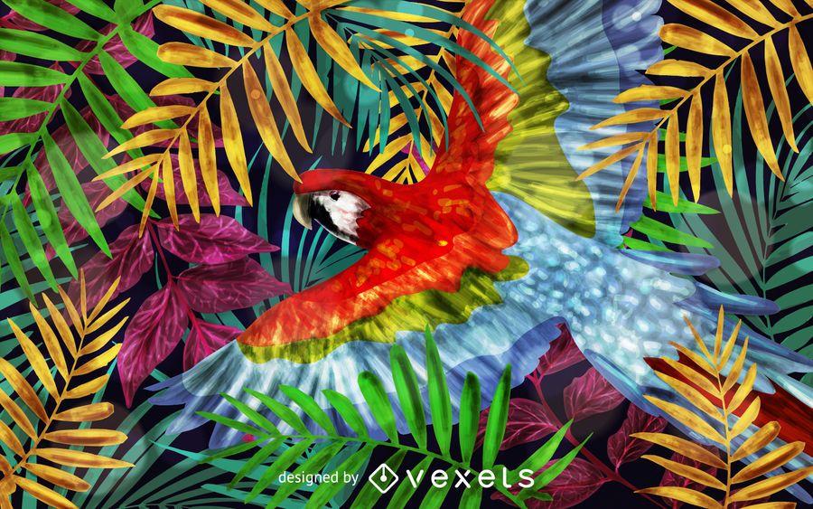 Ilustração de fundo de papagaio arara escarlate
