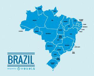 Mapa da divisão administrativa do Brasil