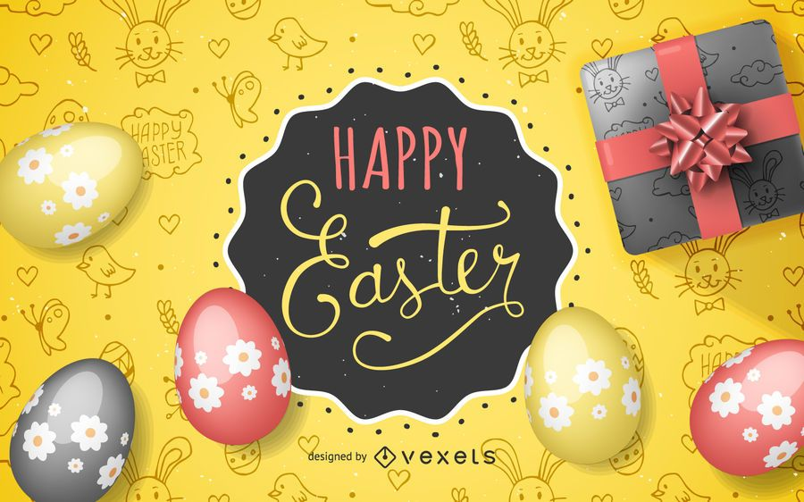 Happy Easter Background with eggs and gifts