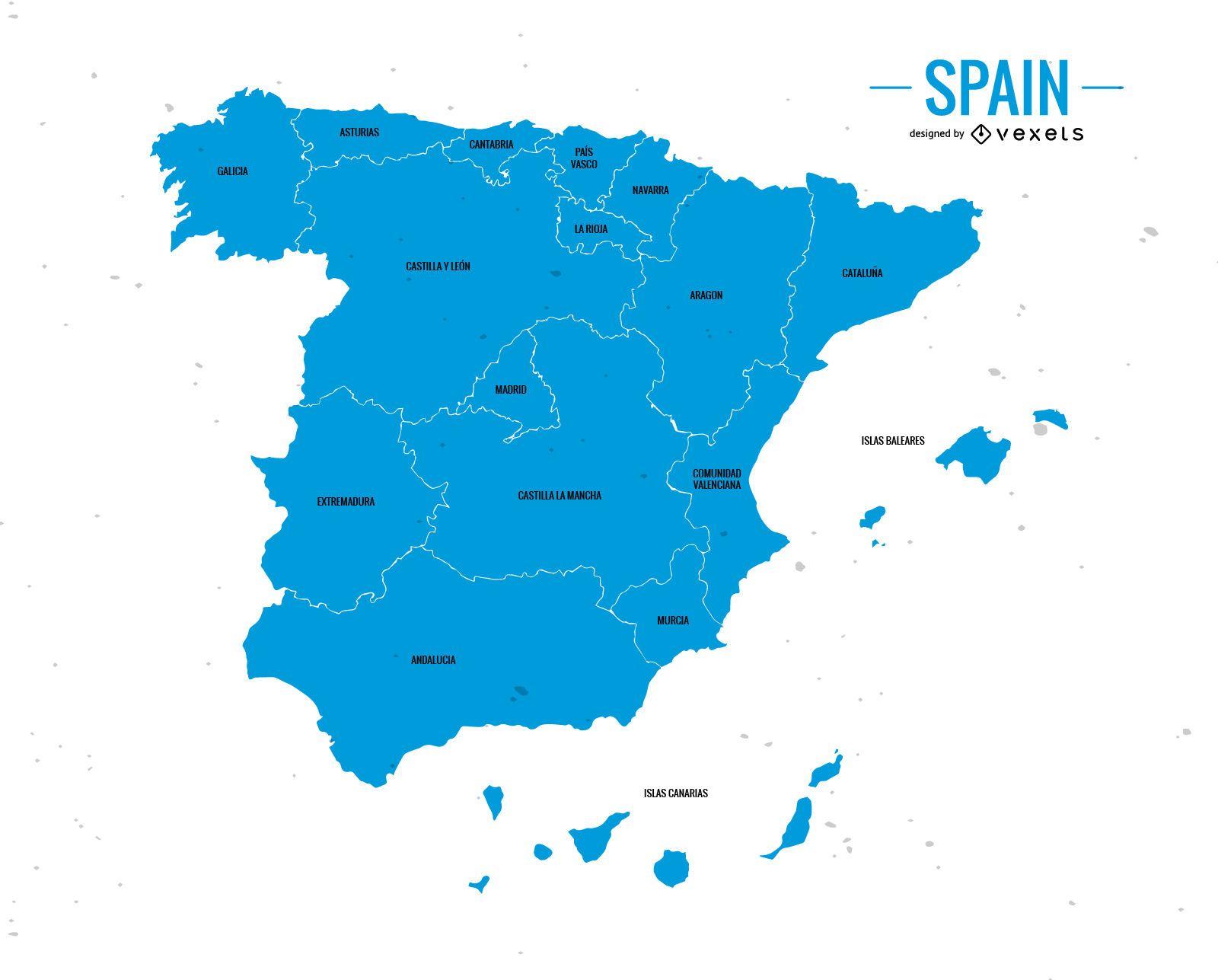 Mapa da divisão administrativa da Espanha