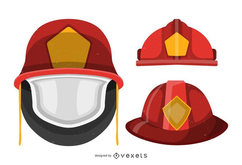 Conjunto de capacete bombeiro isolado