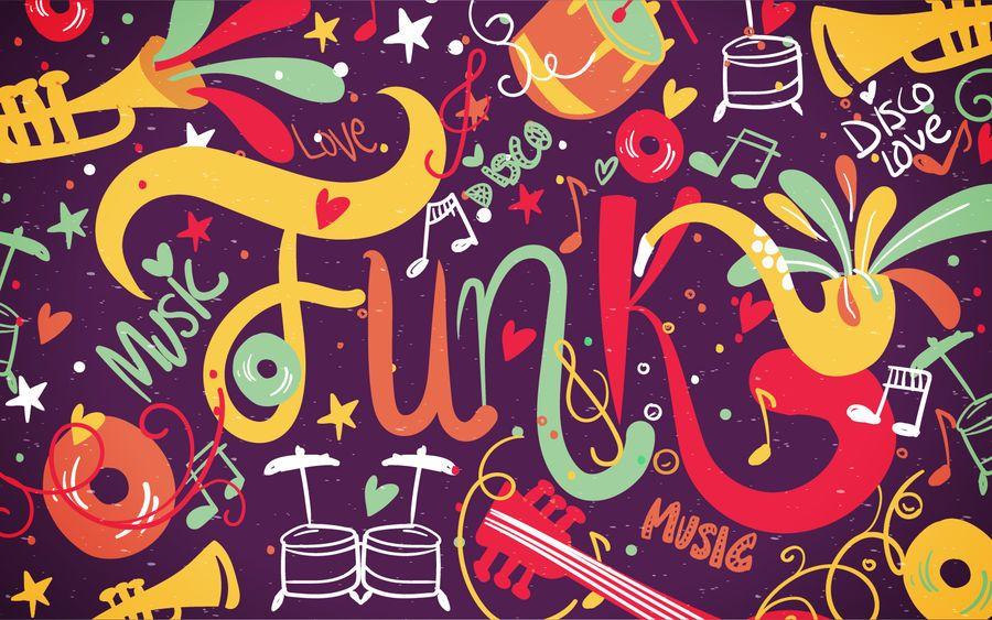 Fundo de música funk colorido