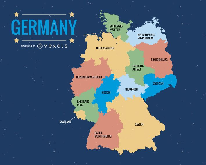 Germany administrative division map Vector download