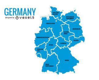 Mapa de los estados de Alemania