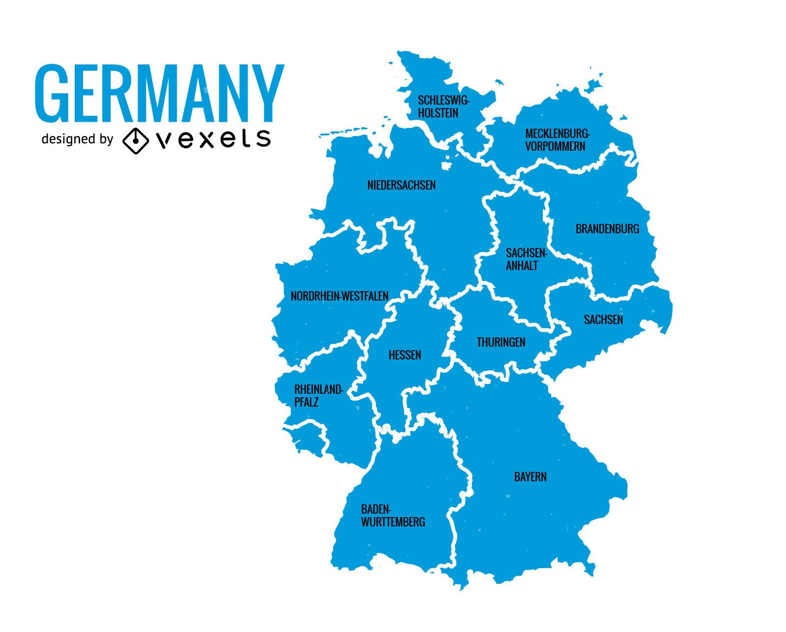 Map Of Germany With States.Germany States Map Vector Download