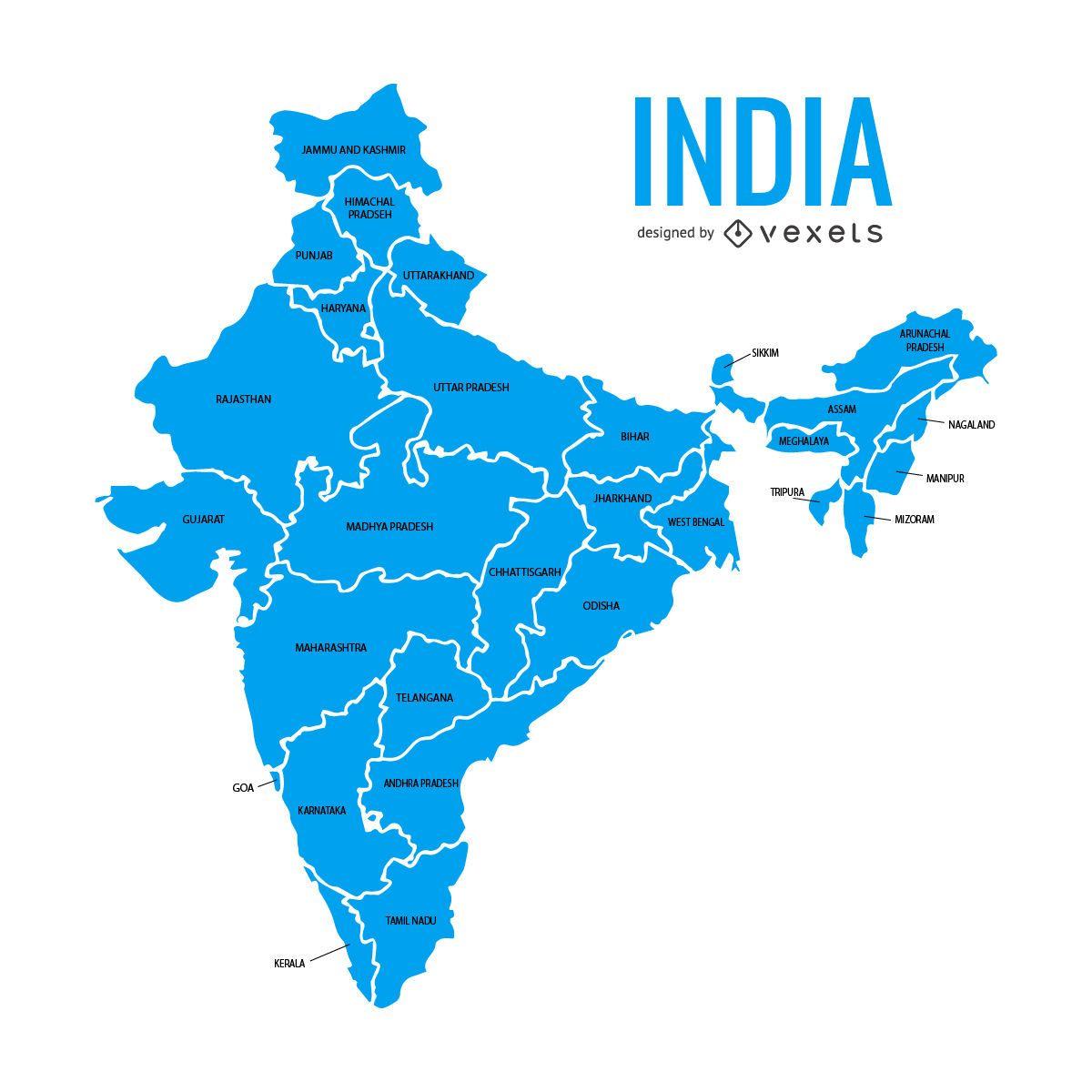 Mapa de los estados de la India