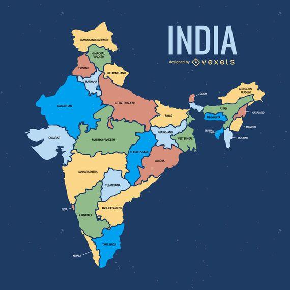Mapa da divisão administrativa da Índia