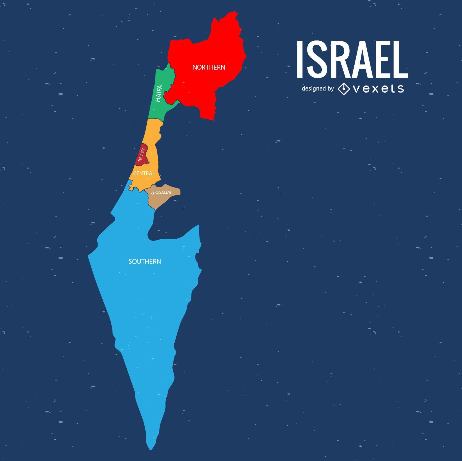 Israel administrative division map Vector download