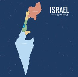 Mapa dos distritos coloridos de Israel