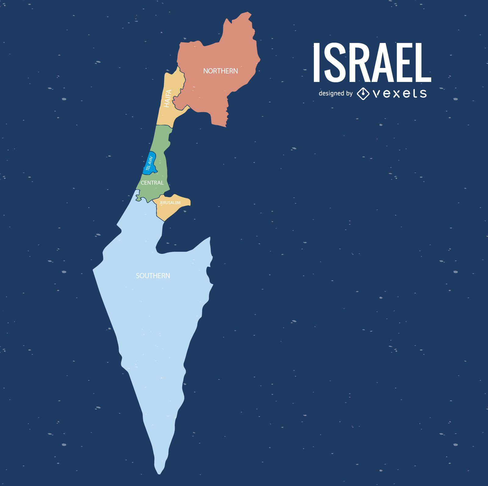 Israel colored districts map