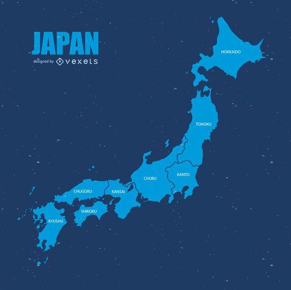 Mapa de divisão administrativo de Japão