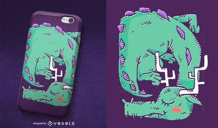 Design da caixa do telefone dragão dormindo