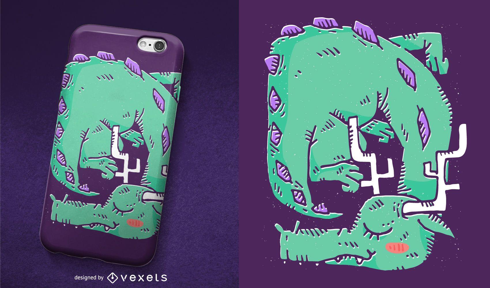 Diseño de caja de teléfono de dragón durmiente
