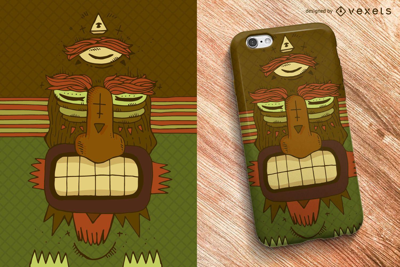 Diseño de caja de teléfono con máscara tribal